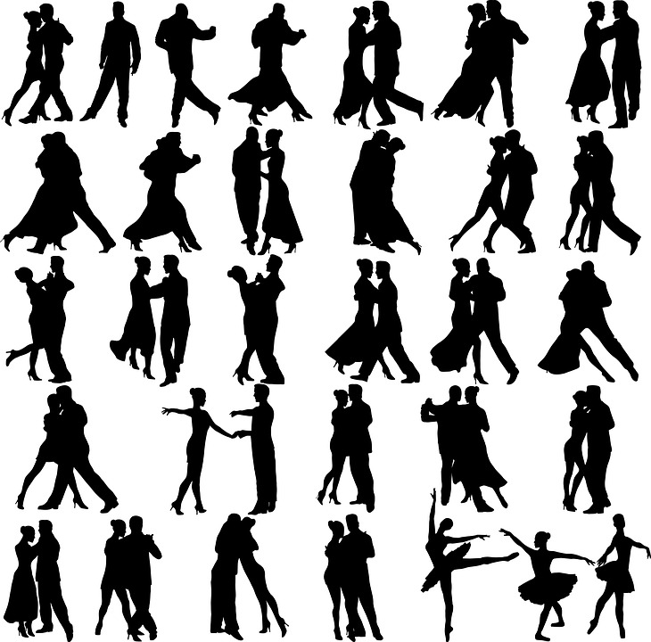 DancingSilhouettes BlackOnWhite StockArtworkImage001