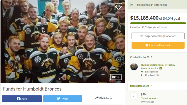 screen shot of 'Funds for Humboldt Broncos'