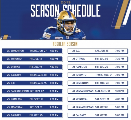 Winnipeg Blue Bomber Broadcast Schedule