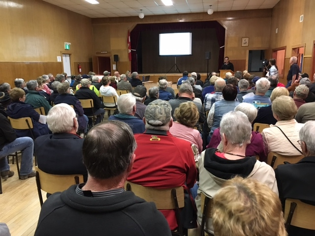 Attendees at Gilbert Plains Community Hall information session