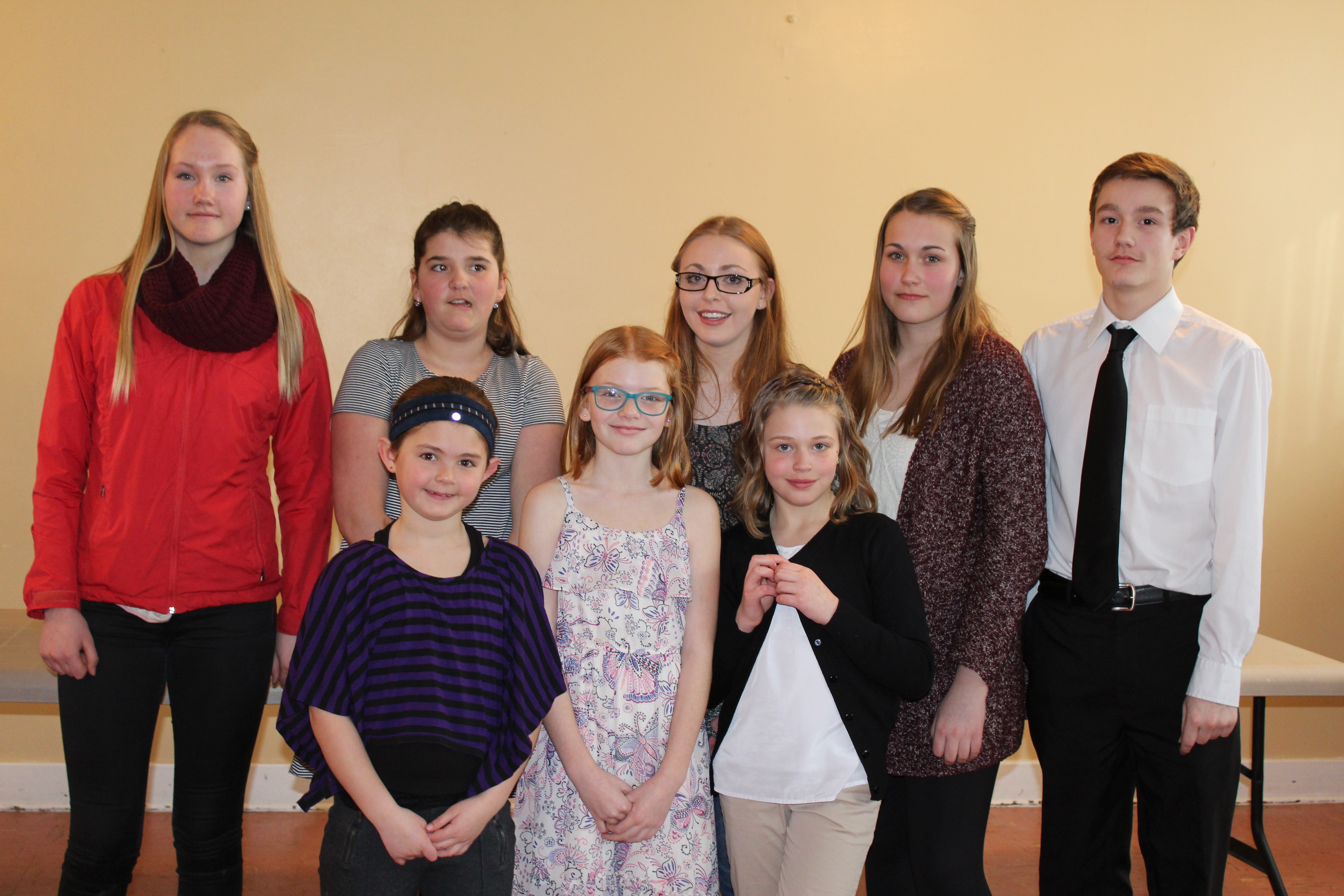 All the winners of the North Parkland 4-H area speeches. Photo credit: Gale Brunen